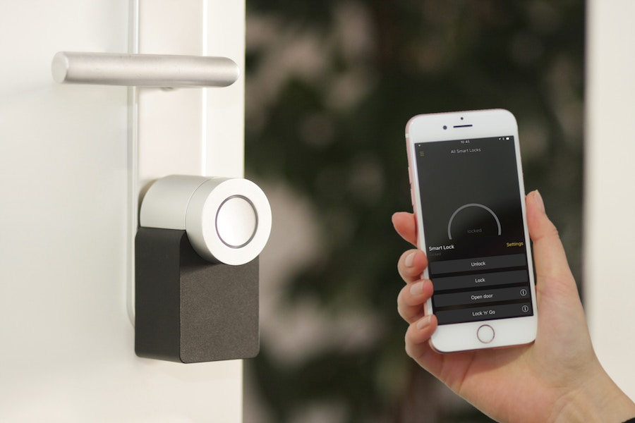 smart home lock and phone